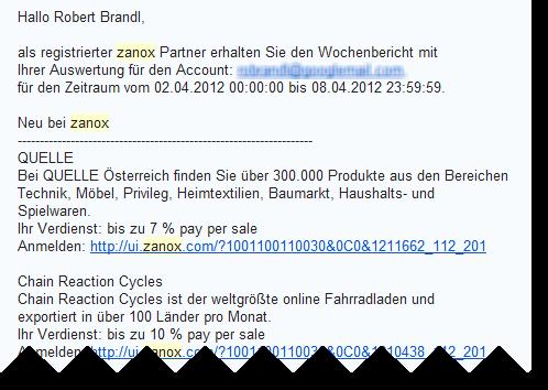 zanox newsletter