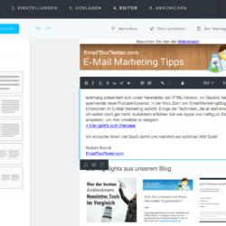 newsletter2go editor