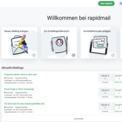 rapidmail startbildschirm