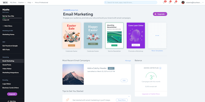 ascend by wix email marketing