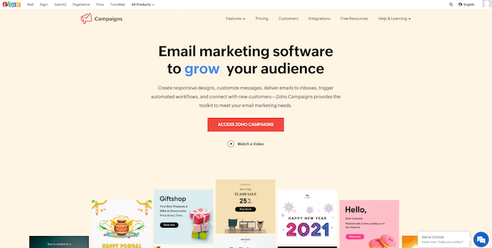 zoho campaigns - free email service