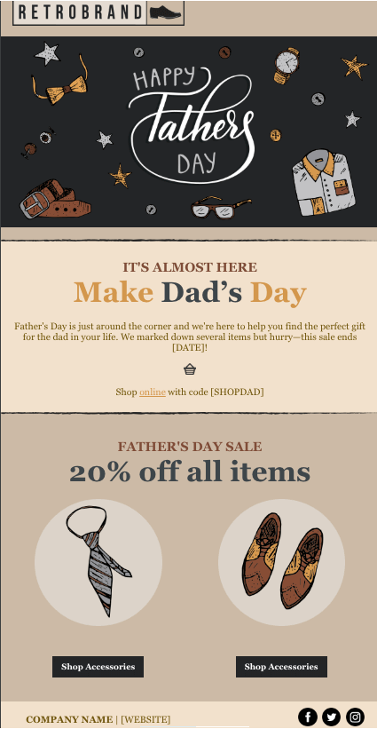 constant contact fathers day sale template