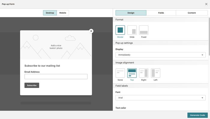 MailChimp popup forms