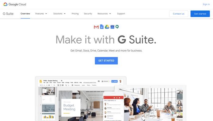 GSuite homepage
