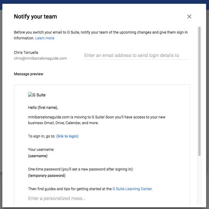 g suite notify team