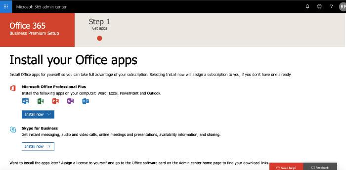 Aplicativos de instalação de revisão do Office 365