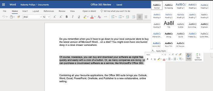 Palavra de revisão do Office 365