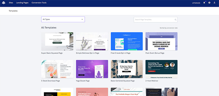 Sales funnel software: Leadpages templates
