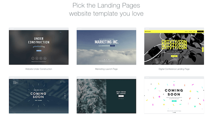 wix landing pages templates