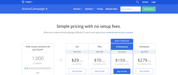 ActiveCampaign pricing & plans