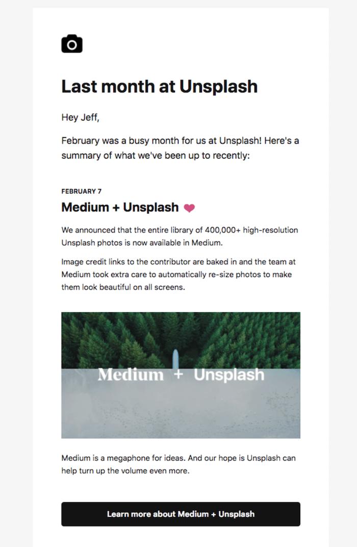 unsplash newsletter examples